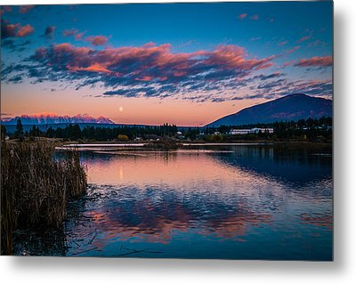 Metal Print featuring the photograph Moonrise Cranbrook Baker Mountain by Rob Tullis