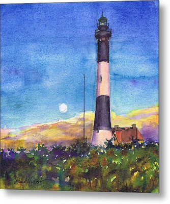 Metal Print featuring the painting Moonrise Fire Island Lighthouse by Susan Herbst