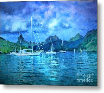 Metal Print featuring the digital art Moonrise In Mo'orea by Lianne Schneider