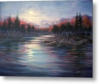 Metal Print featuring the painting Moonrise On The Lake#2 by Laila Awad Jamaleldin