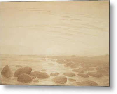 Moonrise On The Sea Metal Print by Caspar David Friedrich