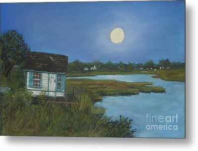 Metal Print featuring the painting Moonrise Orient Point by Susan Herbst