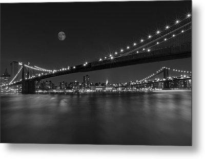 Moonrise Over Manhattan Bw Metal Print by Susan Candelario
