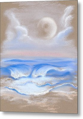 Metal Print featuring the pastel Moonrise Over Myrtle Beach by MM Anderson