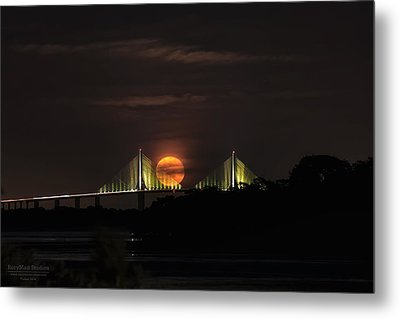 Moonrise Over The Skyway Bridge Metal Print by Michael White