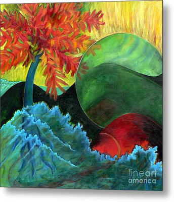 Metal Print featuring the painting Moonstorm by Elizabeth Fontaine-Barr