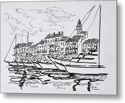 Moored Boats In The Harbor Metal Print