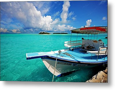 Moored Dhoni At Sun Island. Maldives Metal Print by Jenny Rainbow