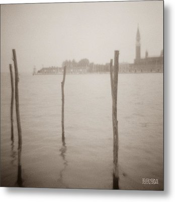 Moorings In Foreground Metal Print by Beverly Brown