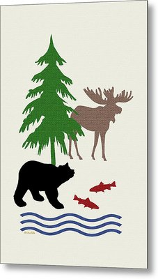 Moose And Bear Pattern Art Metal Print by Christina Rollo