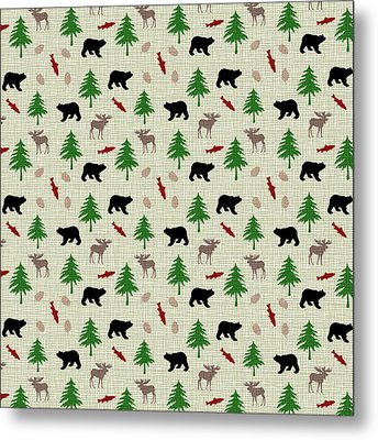 Moose And Bear Pattern Metal Print by Christina Rollo