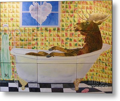 Moose Bath II Metal Print by LeAnne Sowa
