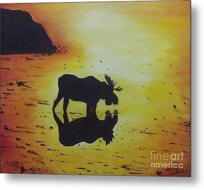 Moose In The Sunset Metal Print by Debra Piro