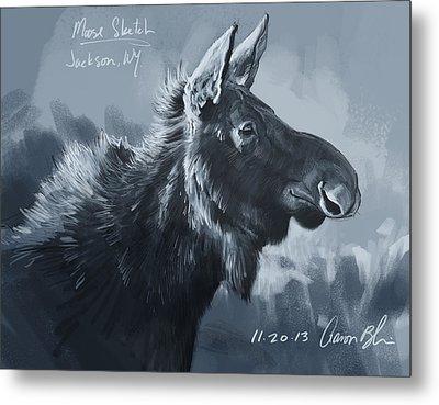 Moose Sketch Metal Print by Aaron Blaise