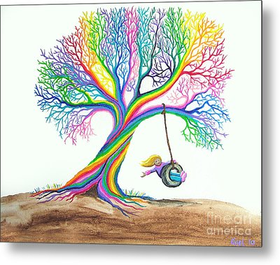 More Rainbow Tree Dreams Metal Print by Nick Gustafson