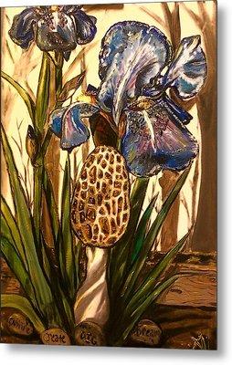 Morel In The Iris Bed Metal Print