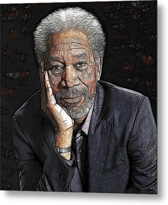 Metal Print featuring the painting Morgan Freeman  by Georgeta Blanaru