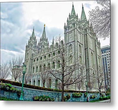 Mormon Temple In Early Spring Metal Print