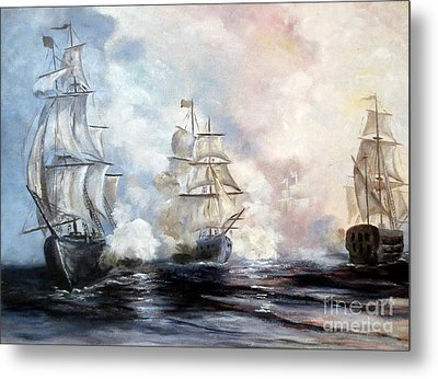 Metal Print featuring the painting Morning Battle by Lee Piper