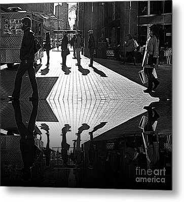 Metal Print featuring the photograph Morning Coffee Line On The Streets Of New York City by Lilliana Mendez