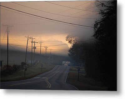 Morning Commute - Foggy Sunrise Metal Print