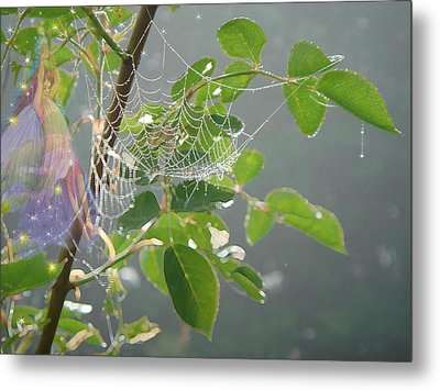 Metal Print featuring the painting Morning Dew Flower Fairy by Judith Cheng