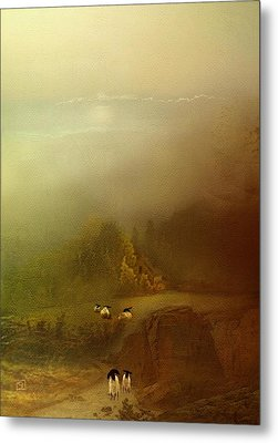 Morning Fog Sheep Metal Print