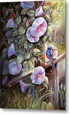 Morning Glories And Bluebirds. Metal Print by Patricia Schneider Mitchell