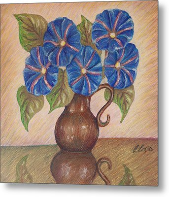 Morning Glories With Pink Background Metal Print by Claudia Cox
