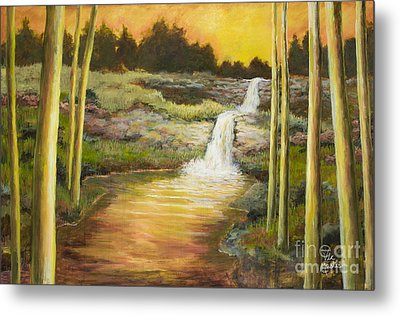 Morning Glow By Vic Mastis With Oil And Gold Leaf Metal Print by Vic  Mastis