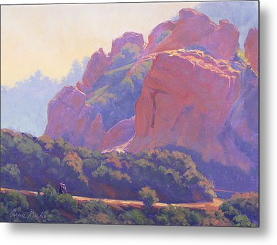 Morning Hike Cathedral Rock Metal Print by Elena Roche