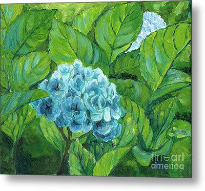 Metal Print featuring the painting Morning Hydrangea by Jingfen Hwu
