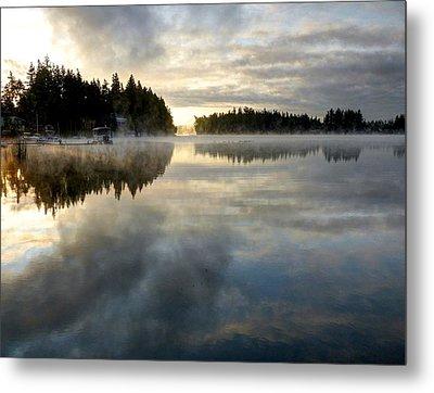 Morning Lake Reflection Metal Print