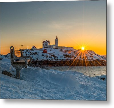 Morning Light At Nubble Lighthouse Metal Print by Bryan Xavier