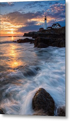 Morning Light At Portland Head Metal Print by Jeff Sinon