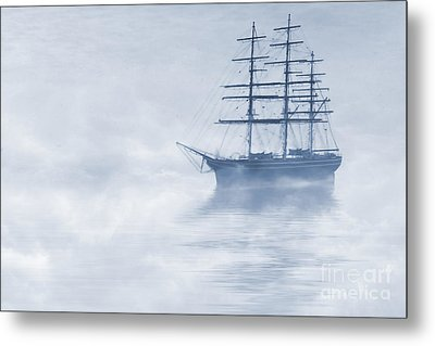 Morning Mists Cyanotype Metal Print by John Edwards