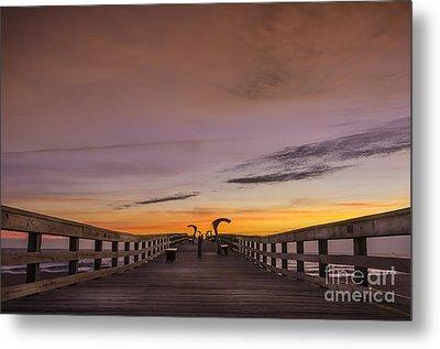 Morning Pier Deck Metal Print