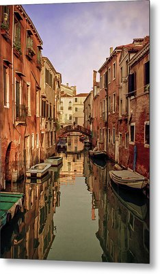 Morning Reflections Of Venice Metal Print by Cliff Wassmann