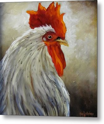 Metal Print featuring the painting Morning Rooster by Cheri Wollenberg