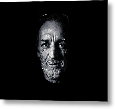Morning Self Portrait In Black And White Metal Print by Brian Carson