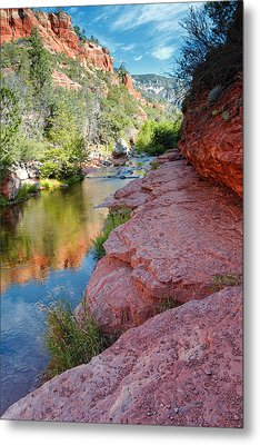 Morning Sun On Oak Creek - Slide Rock State Park Sedona Arizona Metal Print by Silvio Ligutti