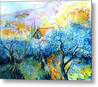 Morning Sunrise In A Tuscan Olive Grove Metal Print by Trudi Doyle