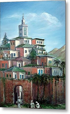 Metal Print featuring the painting Moroccan Village - Alkasaba by Laila Awad Jamaleldin