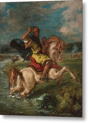 Moroccan Horseman Crossing A Ford Metal Print by Eugene Delacroix