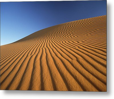 Morocco, Detail Of Sand Dune At Dawn Metal Print by Ian Cumming