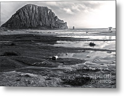 Morro Bay - Morro Rock - Desaturated Metal Print by Gregory Dyer