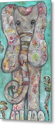 Mosaic Elephant Metal Print by Kirsten Reed