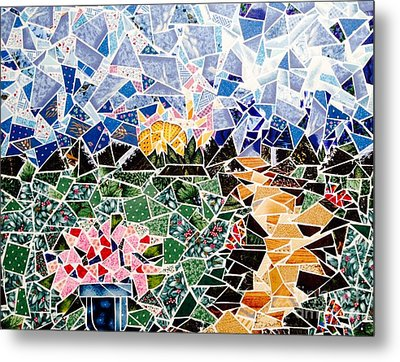 Mosaic Garden Path Metal Print by Dani Abbott