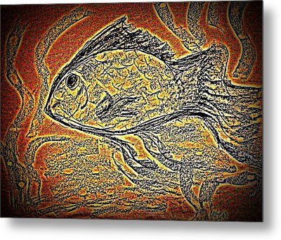 Mosaic Goldfish In Charcoal Metal Print by Antonia Citrino