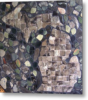 Mosaic Map Of Michigan Metal Print